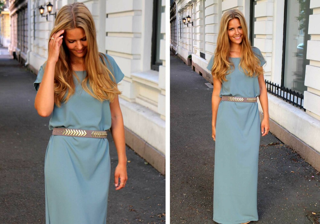 <strong>KREPP:</strong> Kristin brukte krepp georgette, som er et polyesterstoff med litt elastisitet, for å sy sin lengre utgave av kjolen.  Foto: sydetselv.blogg.no