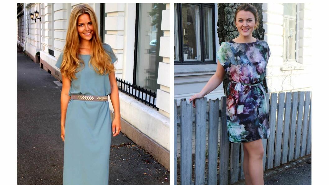 <strong>SYR EGNE KLÆR:</strong> Kristin Tyvoll (24) og Sara Feragen (24) har startet sin egen syblogg. Her har de på seg to selvsydde kjoler, som du også kan lage! Oppskriften finner du lenger ned i artikkelen. Foto: sydetselv.blogg.no