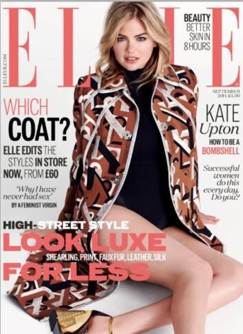 FORSIDEPIKE: Kate Upton er på coveret av september-utgaven av Elle UK. Foto: Faksimile Elle UK