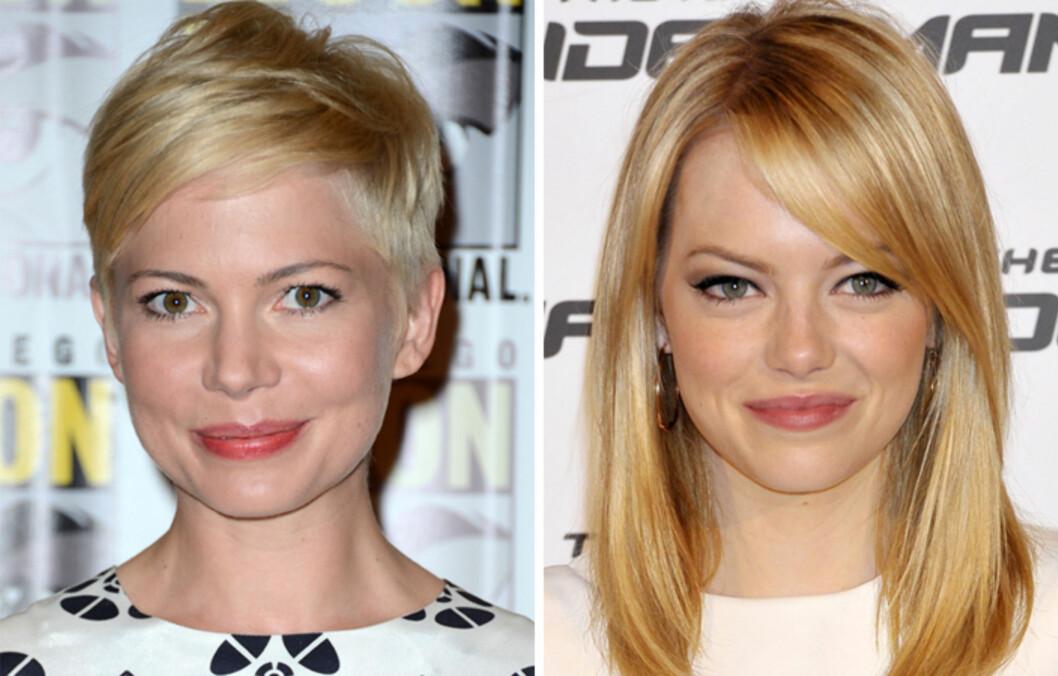BLONDINER: Blondt hår krever en del pleie, så sørg for å beskytte det mot sol, saltvann og klorin. Da kan du bevare den lekre fargen gjennom heller sommeren, slik Michelle Williams og Emma Stone gjør. Foto: All Over Press