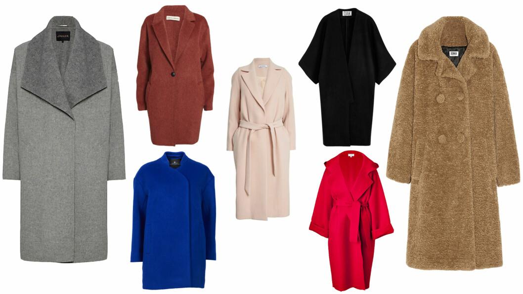 HØSTENS TRENDKÅPE: Den vide kåpen har plass til lag på lag med klær, når det er som kaldest og den vil skjule kroppsområder du ikke er helt fornøyd med, det er jo positivt. Grå kåpe (kr 4710, Jaeger/johnlewis.com), kåpe med belte (kr 3255, youheshe.com), blå kåpe (kr 3180, Designers Remix), burgunder kåpe (kr 2000, Hawk), Svart kåpe (kr 3950, net-a-porter), teddy kåpe (kr 5650,Sonia  Foto: Produsentene