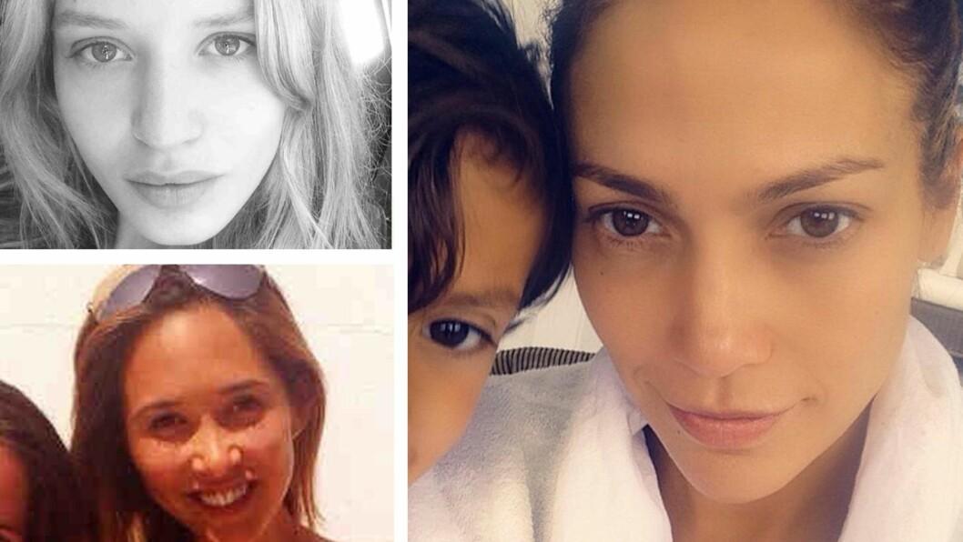 USMINKET: Georgie May Jagger, Jennifer Lopez og Mylene Klass er blant kjendisene som har delt et sminkefritt bilde av seg selv. Se flere av de naturlige kjendis-selfiene videre i saken. Foto: All Over Press