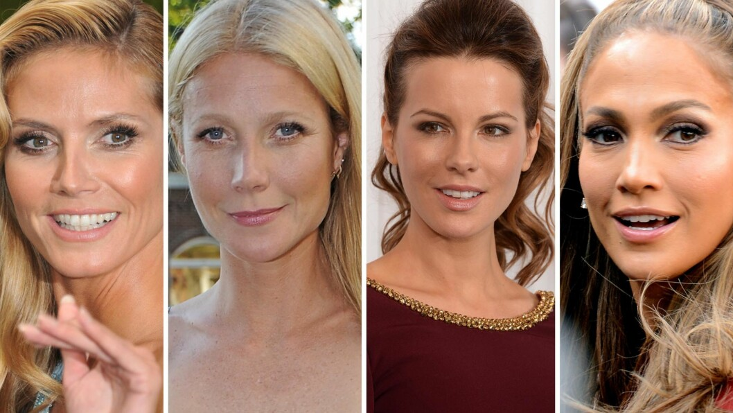 40 & FAB: Disse kjendiskvinnene ser helt fantastiske ut, og vi digger at de ikke er redde for å vise frem sine beste sider. Fra venstre - Heidi Klum, Gwyneth Paltrow, Kate Beckinsale og Jennifer Lopez. Foto: All Over Press