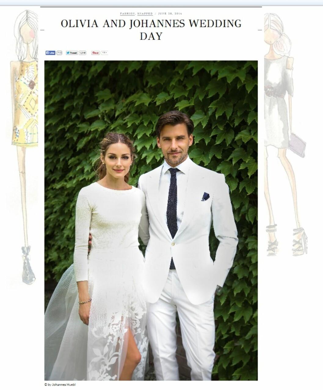 BRUDEPARET: Både Olivia og Johannes så nydelige ut på bryllupsdagen. Palermo roses for sitt vågale valg av antrekk og brudgommen matchet bruden sin perfekt. Foto: Oliviapalermo.com