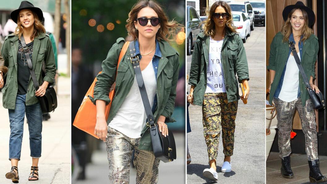 ARMYJAKKEN ER HOT I SOMMER: La deg inspirere av skuespiller Jessica Alba, og bruk it-jakken til jeans og løse bukser - perfekt til både sandaler, Vans og armyboots.  Foto: All Over Press