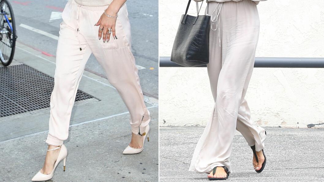 SVAL DEILIG BUKSE - PERFEKT OM SOMMEREN: Både Jennifer Lopez og Alessandro Ambrosio går for lyse florlette silkebukser denne sommeren. Foto: All Over Press