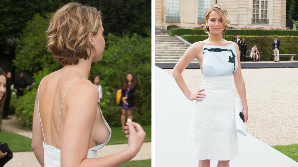 SEXY JENNIFER LAWRENCE HOS DIOR: Jennifer Lawrence så svært så anstendig ut i sin vakre kjole forfra...men fra siden viste kjolen en dristig side.  Foto: All Over Press