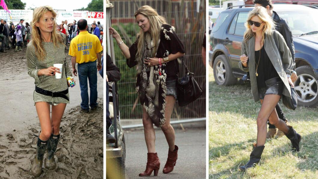 FESTIVALDRONNINGEN: Kate Moss kan virkelig kunsten å kle seg akkurat passe laidback og kult til festival. Foto: All Over Press