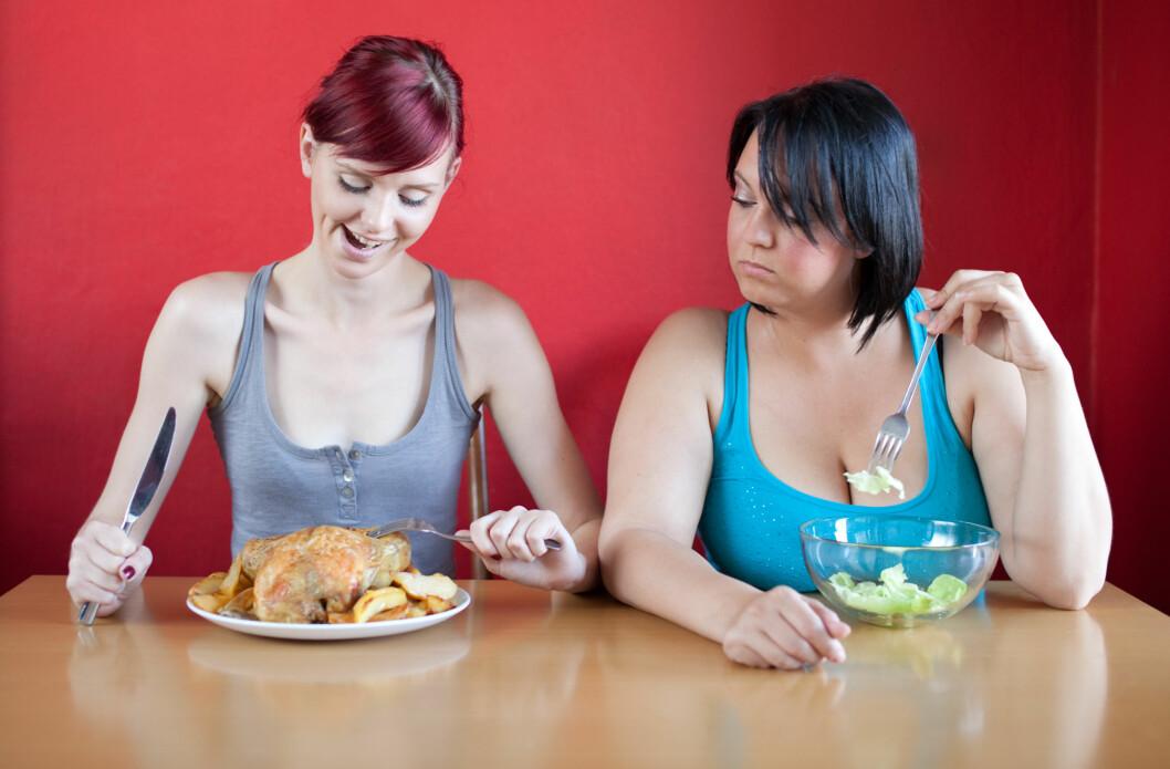 DETTE SPILLER EN ROLLE: Gener har selvfølgelig en del å si for forbrenning og vekt, det samme gjelder for matinntak, aktivitetsnivå og hvor mye muskelmasse du har.  Foto: berc - Fotolia