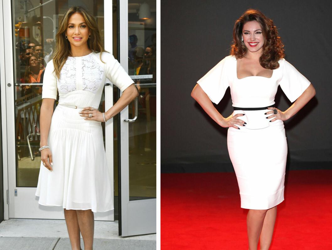 GJØR SOM STJERNENE: Jennifer Lopez og Kelly Brooke er to formfulle superstjerner som vet å benytte seg av beltetrikset for å fremheve midjen og sine feminine kurver.  Foto: All Over Press