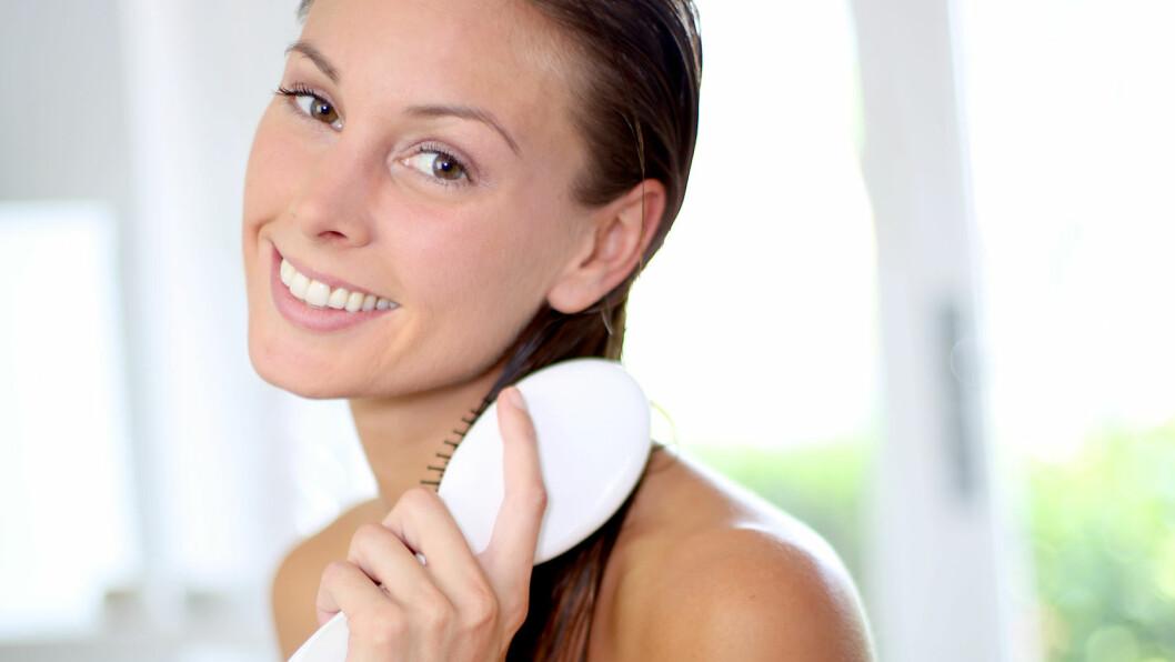 STOPP EN HAL: Du bør være svært forsiktig med å børste vått hår. Prøv heller å børste det før du går i dusjen og kanskje en gang med en grovtannet kam mens du har balsam i håret, foreslår frisøren. Foto: goodluz - Fotolia