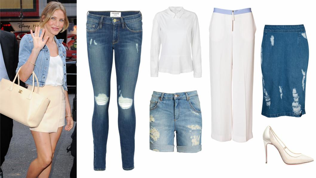 HVITT OG DENIM: Gjør som Cameron Diaz og kombiner jeansjakke med hvit topp og kremhvitt skjørt. Jeans (kr 2100, Frame), Skjorte (kr 700, Inwear), bukse (kr 2300, By Malene Birger), Denimskjørt (kr 300, Cubus, shorts (kr 800, five unit), sko (kr 4515, Louboutin/matchesfashion). Foto: produsentene, All Over Press