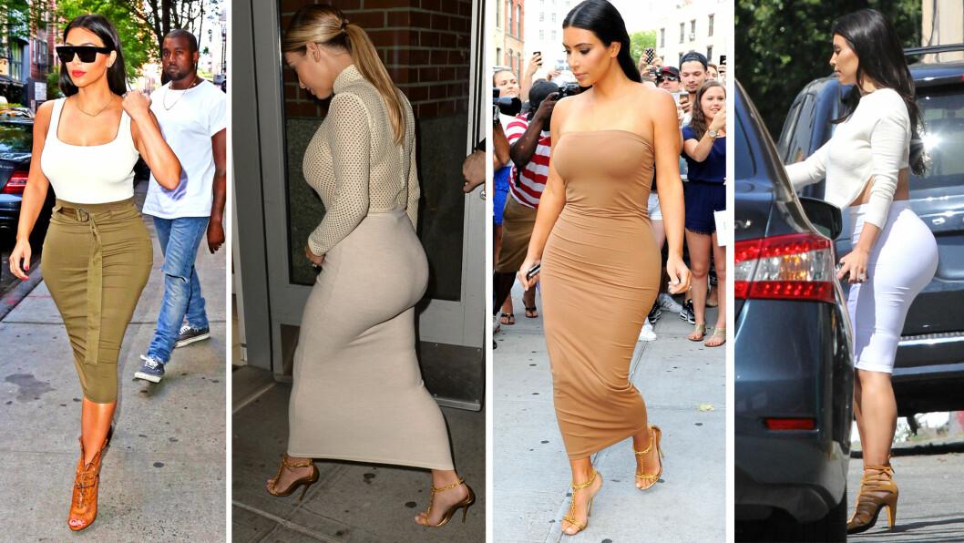 KIM KARDASHIAN: Kim kler seg alltid etter fasongen sin, og er spesielt kjent for å fremheve den smale midjen og den formfulle bakdelen sin. Foto: All Over Press