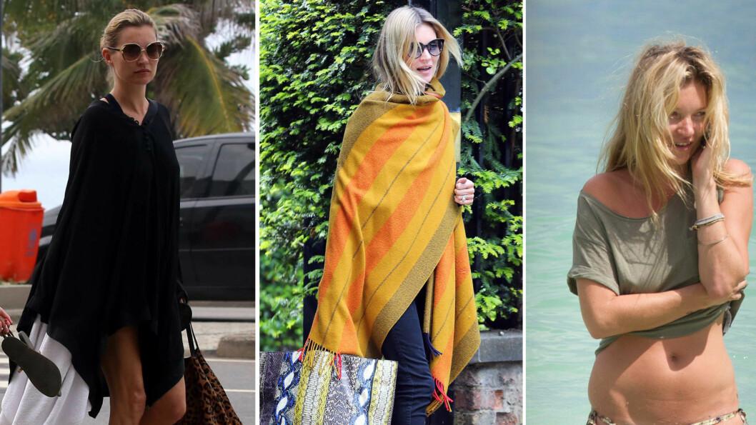 BOHEMSK CHIC: Kate Moss ser alltid like kul ut, enten hun har på seg tresko og sjal, eller vandrer rundt på stranden. Foto: All Over Press