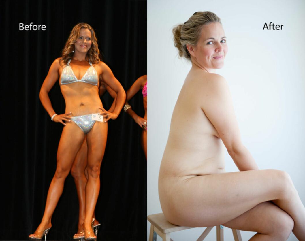 FØR OG ETTER: Taryn Brumfitt ønsker å få flere kvinner til å elske kroppen sin. Dette bildet - som fikk 3 millioner likes på Facebook, har engasjert mange i hennes bevegelse.  Foto: Privat
