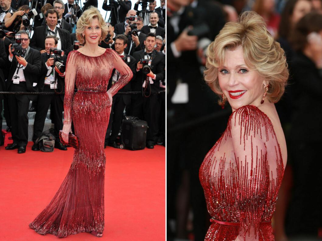 <strong>JANE FONDA:</strong> 76-åringen strålte i kjole fra Elie Saab under filmfestivalen i Cannes. Kjolen fremhever Fondas flotte figur og er akkurat passe sexy og tekkelig på én gang. Foto: All Over Press