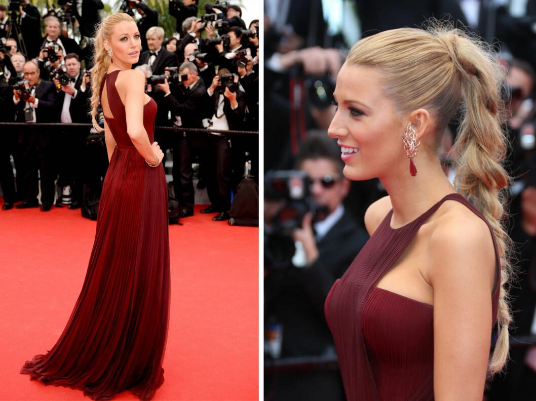 FLETTE: Blake Livelys hår fikk mye opmmerksomhet i Cannes, og ikke uten grunn! Fletten er et skikkelig blikkfang, samtidig som frisyren ikke føles for stylet. Foto: All Over Press