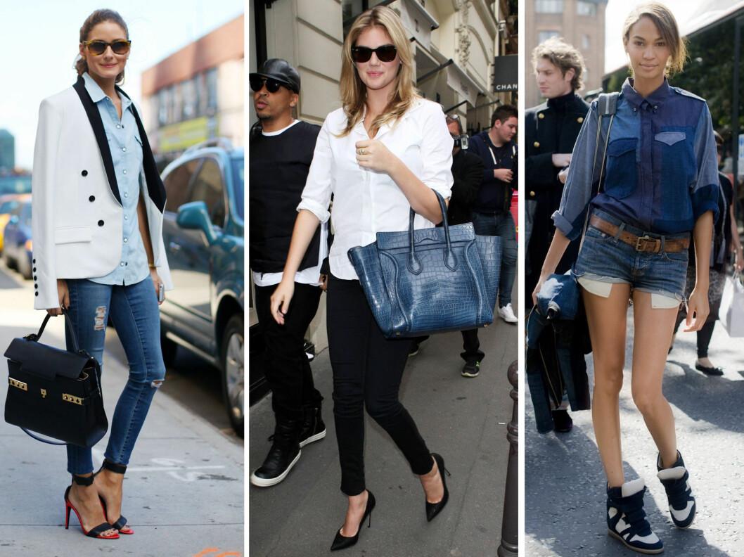 SKJORTEDILLA: Stilikonet Olivia Palermo, skuespillerinnen Kate Upton og modellen Joan Smalls er bare noen av kjendisene som har lagt sin elsk på det anvendelige plagget. Foto: All Over Press