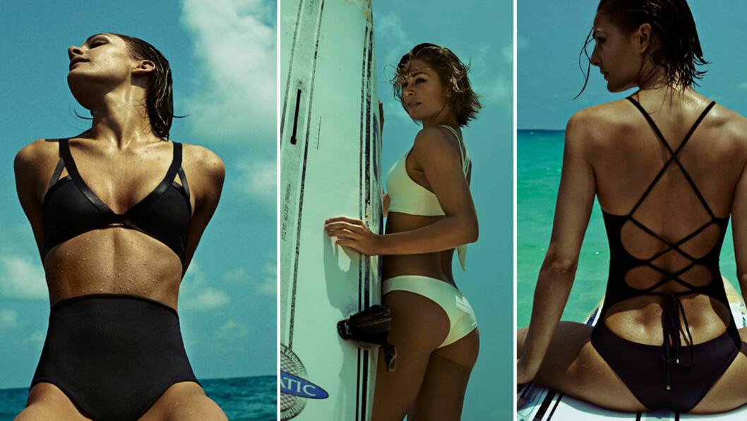<strong>JENNY SKAVLAN FOR PORTO BRAZIL:</strong> - Jeg synes det er kroppen som skal komme best ut, ikke nødvendigvis bikinien, sier Skavlan som har gått for et stilrent design på sin badetøyskolleksjon. Foto: Jørgen Gomnæs for Porto Brazil