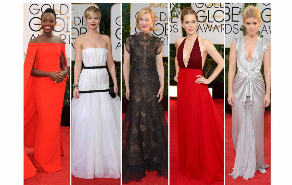 KVELDENS FLOTTESTE?: Lupita Nyong'o, Jennifer Lawrence, Cate Blanchett, Amy Adams og Kate Mara var blant kveldens best kledde under søndagens Golden Globes i LA. Foto: All Over Press