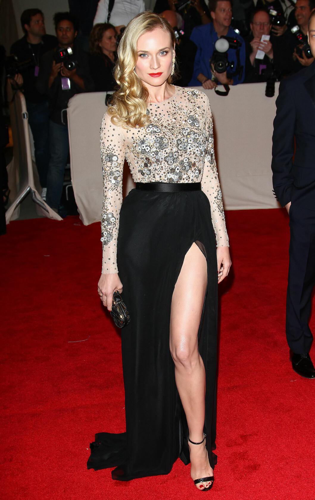 <strong>DIANE KRUGER:</strong> Skjønnheten viste frem bena sine med en høy splitt i 2011. Jason Wu er designeren bak den sexy, men likevel sofistikerte kjolen. Foto: All Over Press