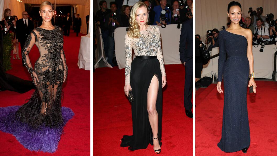<strong>MET-KJOLER:</strong> Glitter, glam og høye splitter er bare noen av stikkordene som beskriver tidenes flotteste Met-kjoler. Foto: All Over Press