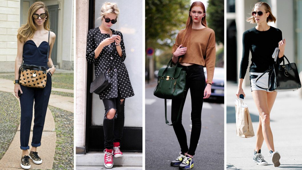 SKOENE VI ELSKER: Vans, Converse, Superga, Nike og Keds er bare noen av skoene som kommer igjen hver sommer. Her ser du hvordan noen av bloggerne i Paris, New York og London styler dem.  Foto: All Over Press
