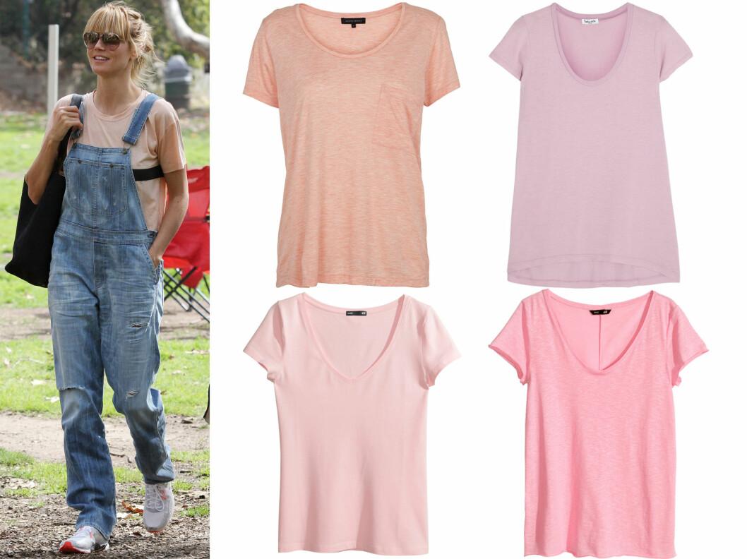PUDDERROSA ER NYDELIG TIL SLITT DENIM:  Gjør som supermodell Heidi Klum, og kle deg avslappet på en supersøt måte. I midten øverst (kr 300, Second Female), i lys lavendel (cirka kr 600, Splendid), i lyserosa (kr 50) og i en litt sterkere rosa (kr 100, begge fra H&M). Foto: All Over Press/Produsenter