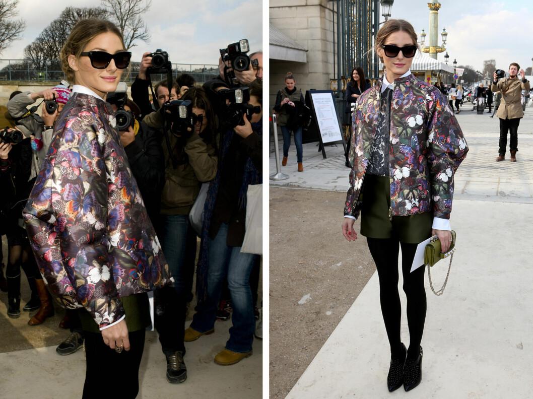 OLIVIA PALERMO: Stilikonet gikk for en jakke med blomstermønster på Valentinos høstvisning for 2014. Foto: All Over Press