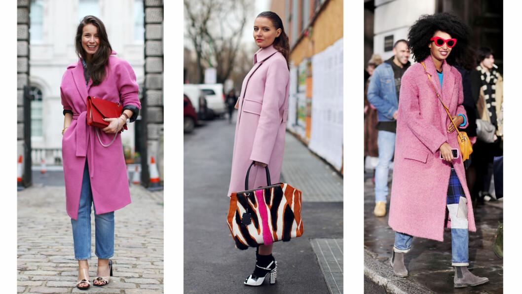 ROSA KÅPER: Motebloggerne har lagt sin elsk på de fargeglade kåpene, og trenden ser ikke ut til å forsvinne med det første. Foto: All Over Press