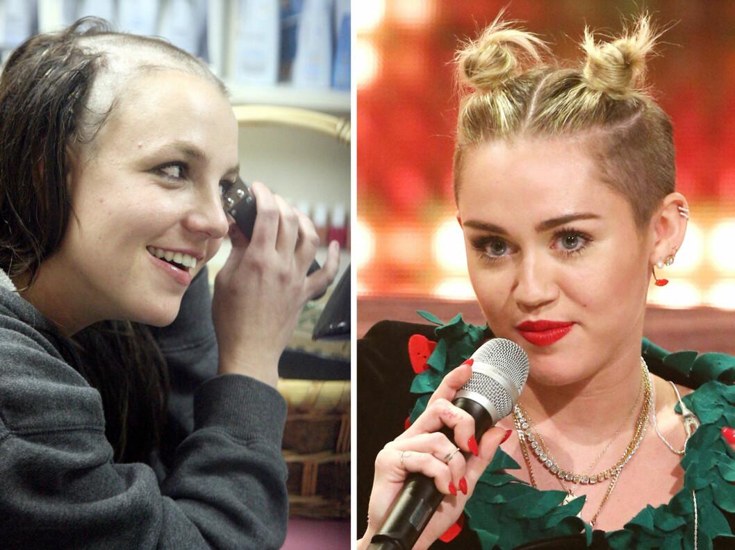 MINST LIKT: Britney Spears barberte for noen år siden vekk alt håret og Miley Cyrus hadde en periode en frisyre med hårknuter på toppen og barbert på siden. Ingen av delene var en favoritt blant menn, skal vi tro en britisk undersøkelse. Foto: All Over Press