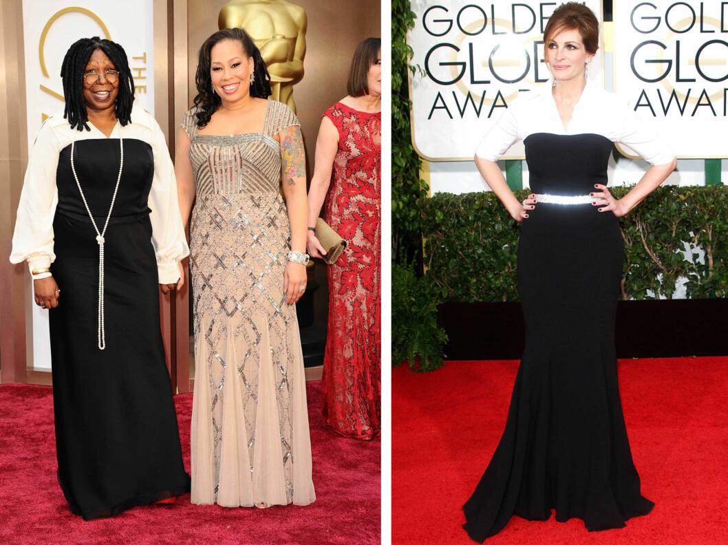 BURDE HATT STYLIST-HJELP: Whoopi Goldberg var heller ikke helt heldig med sitt kjolevalg, og antrekket minnet mistenkelig om skjortekjolen Julia Roberts bar på Golden Globes.  Foto: All Over Press