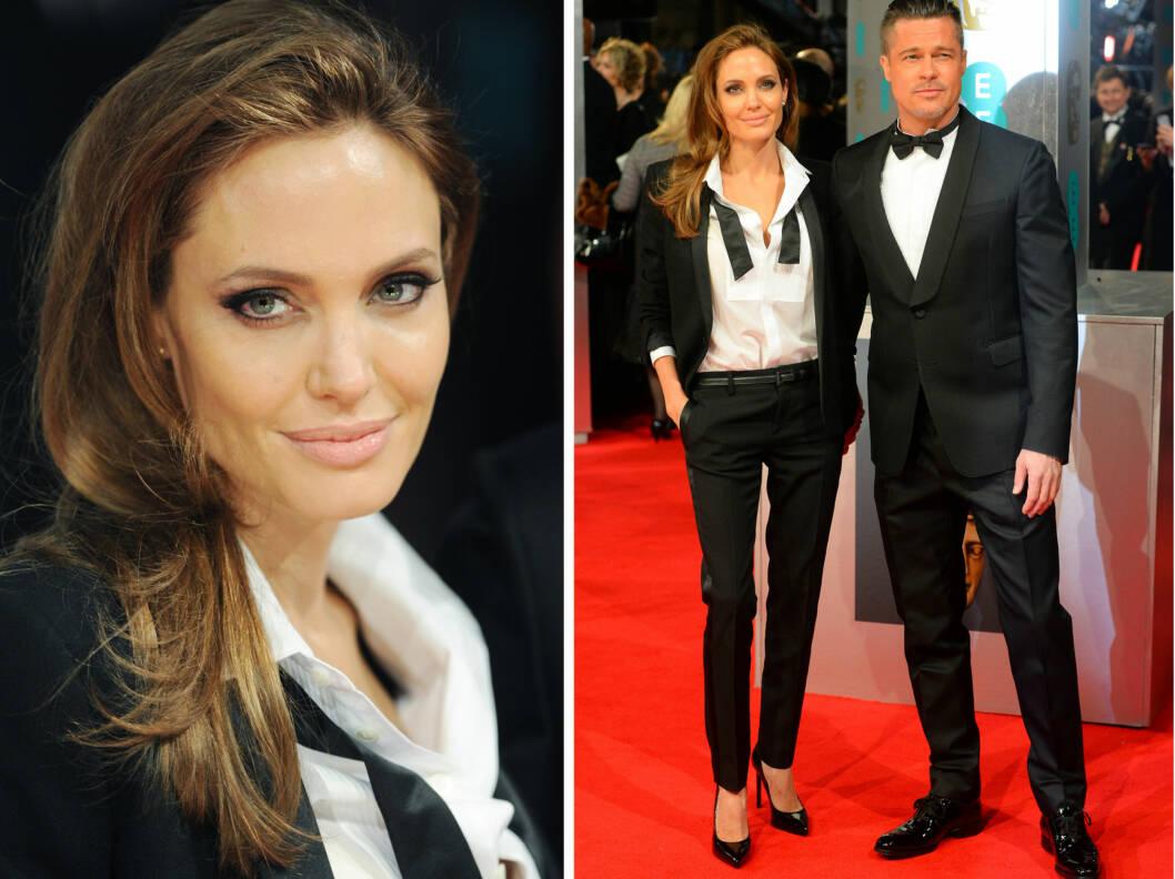 MATCHET: Stjerneparet Brad Pitt og Angelina Jolie matchet i svart- hvite dresser.  Foto: All Over Press