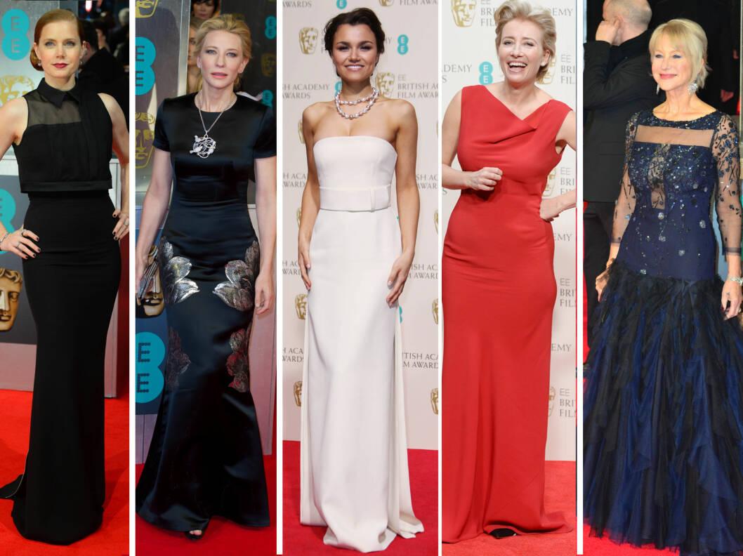 ELEGANTE: Amy Adams, Cate Blanchett, Samantha Banks, Emma Thompson og Helen Mirren.  Foto: All Over Press