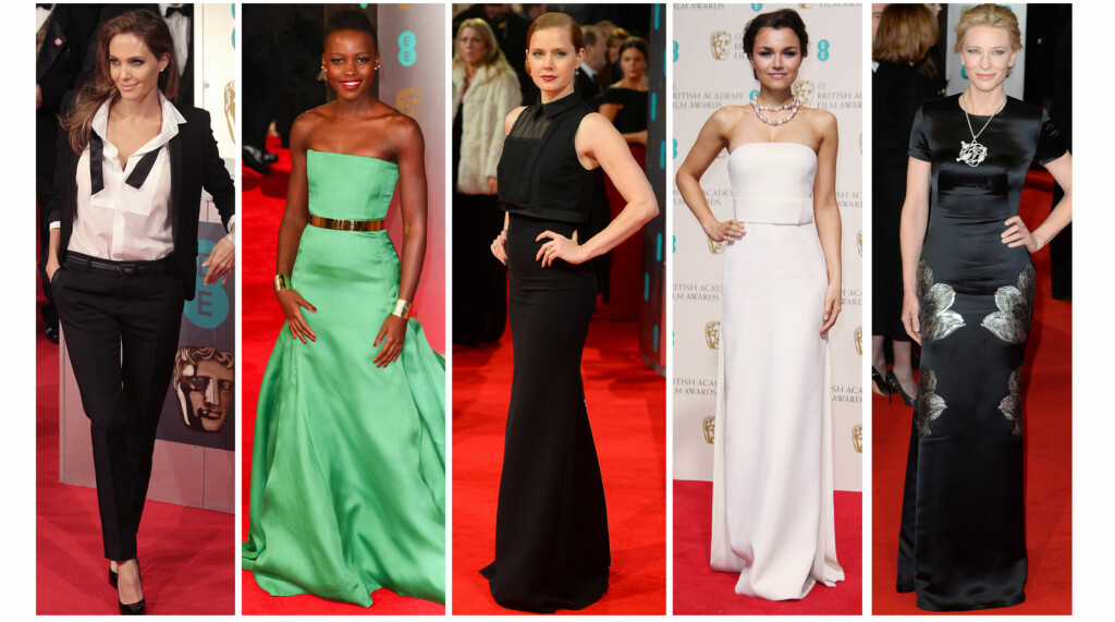 PÅ BAFTAS: Angelina Jolie, Lupita Nyong'o, Amy Adams og Samantha Banks i sine lekre BAFTA-antrekk.  Foto: All Over Press