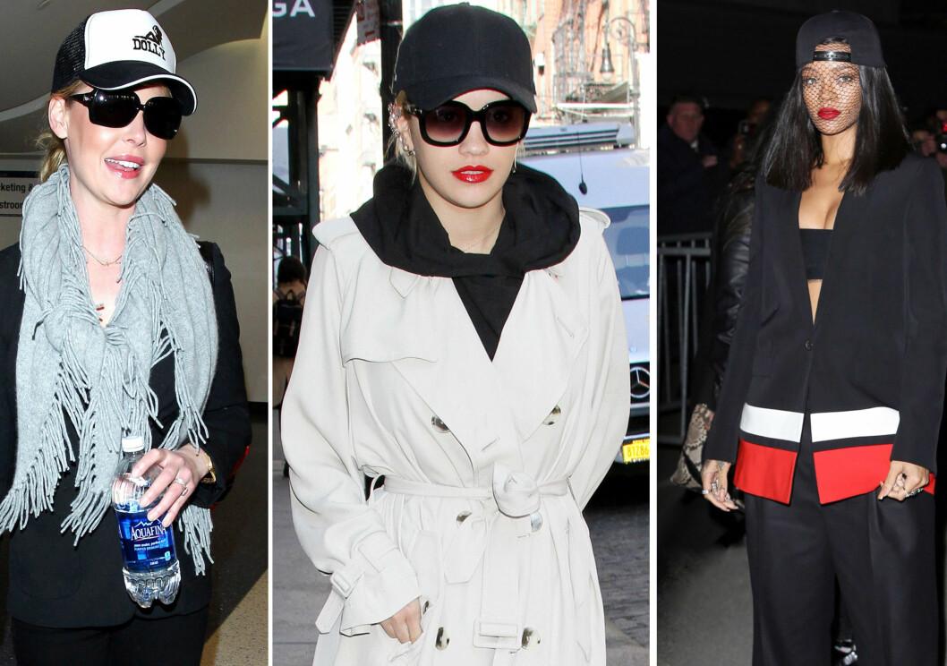 SLIK STYLER DE CAPSEN: Fra venstre Katherine Heigl,  Rita Ora og Rihanna. Foto: All Over Press
