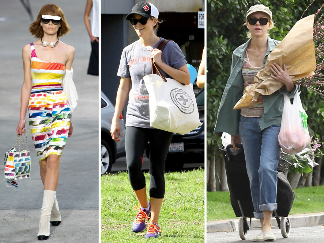 Fra venstre solbriller og caps i ett, på catwalken til Chanel, og skuespillerne Reese Witherspoon og Naomi Watts. Foto: All Over Press