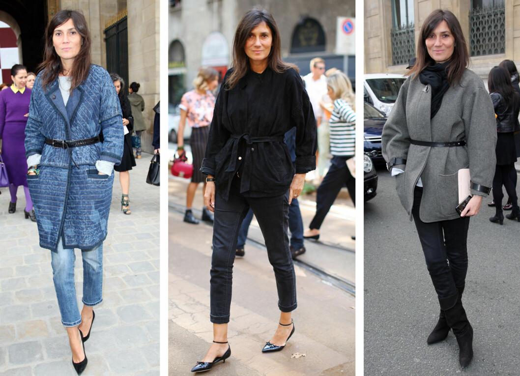 BELTE: Et belte over jakken funker alltid for Vogue-redaktøren Emmanuelle Alt. Foto: All Over Press