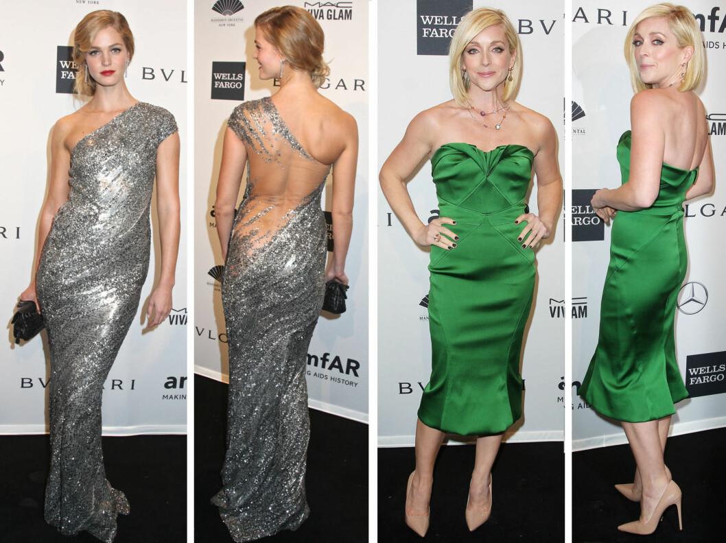 FLOTTE: Supermodell Erin Heatheron strålte i sølv, mens skuespiller Jane Krakowski så smashing ut i knallgrønt.  Foto: All Over Press