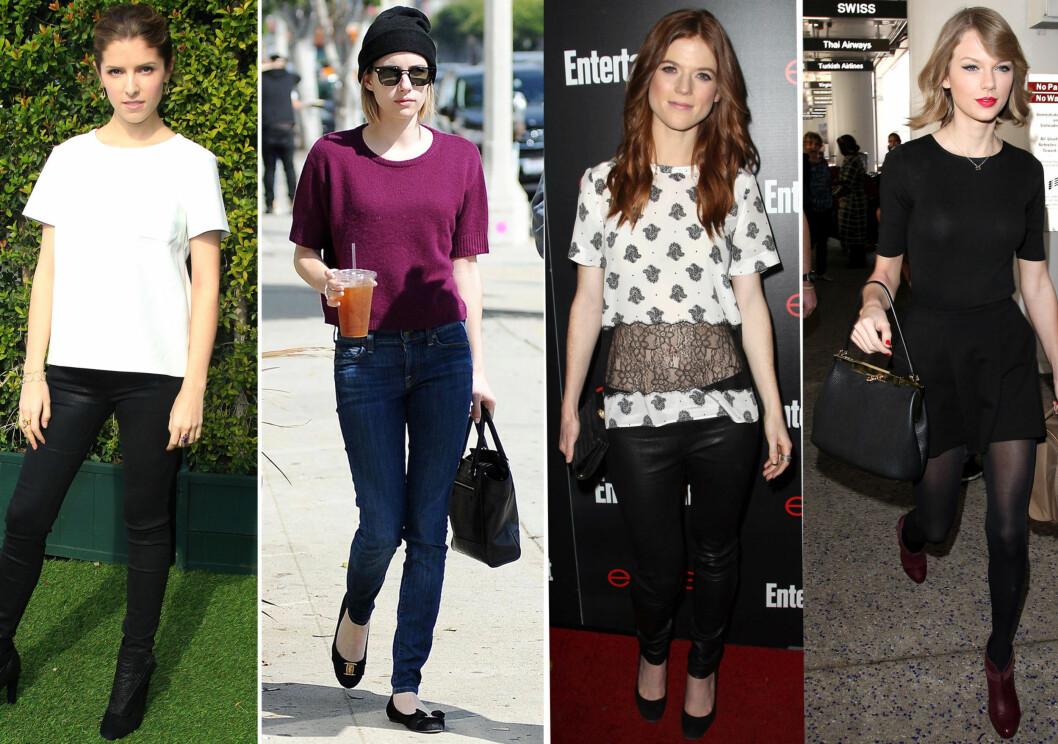 LENGDEN SOM GJELDER HOS STJERNENE: Fra venstre Anna Kendrick, Emma Roberts, Rose Leslie og Taylor Swift.