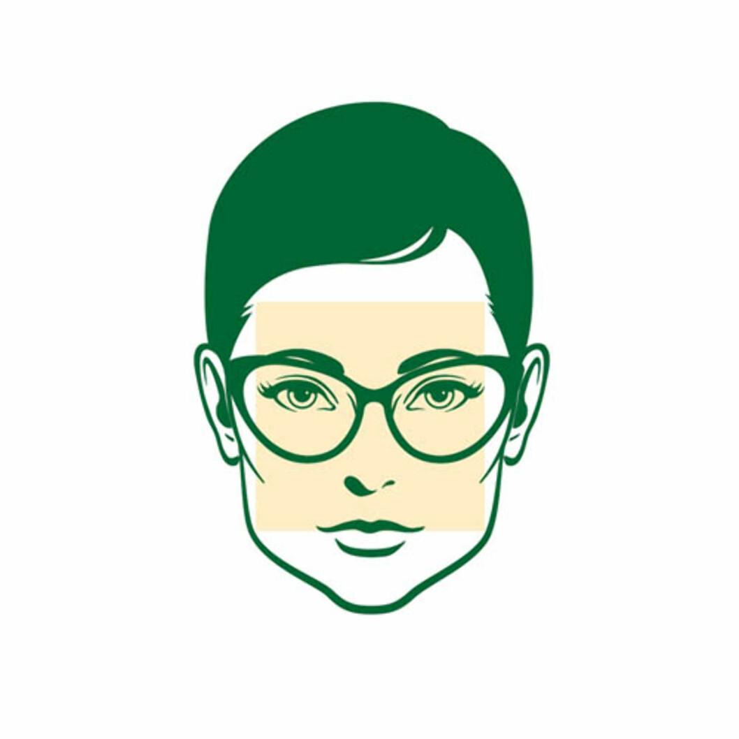 KVADRATISK ANSIKT: Særlig damer med denne ansiktsformen ser flotte ut i litt store cateye-modeller.  Foto: Brilleland