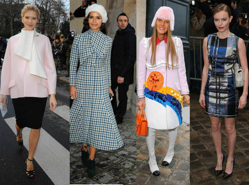 KJENTE FJES: Fra vesntre:  Elena Perminova, Miroslava Duma, Anna Dello Russo og Kate Bosworth. Foto: All Over Press