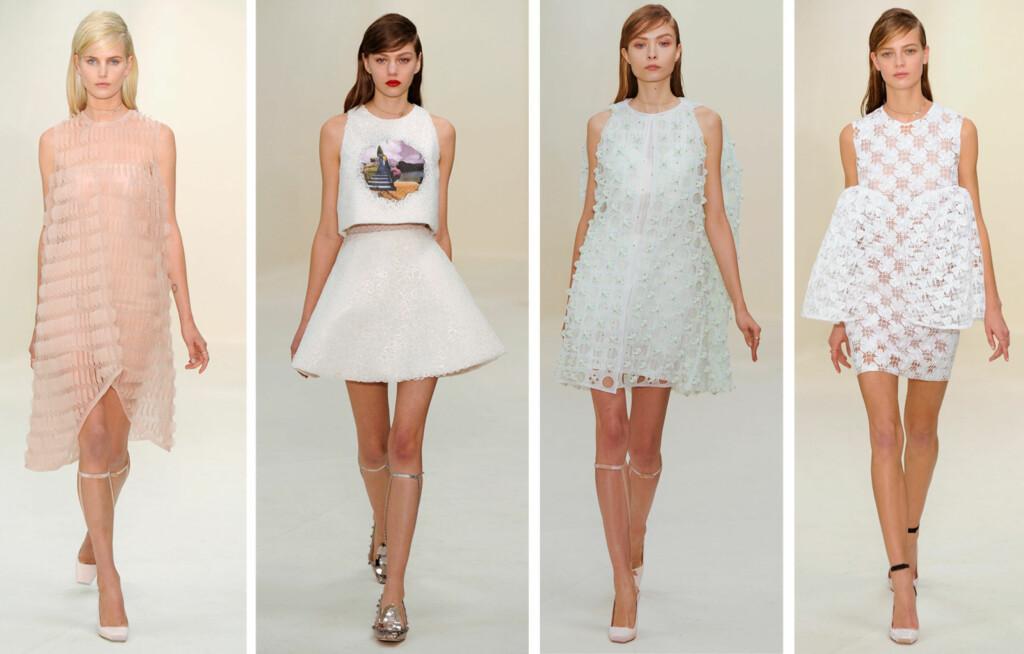 DIOR: Motehusets haute couture-kolleksjon for våren 2014 var preget av feminine antrekk med en moderne vri. Foto: All Over Press