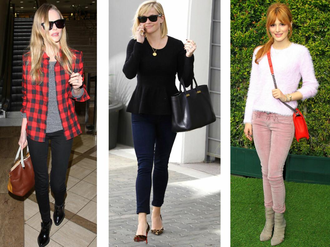 <strong>PERFEKT TIL PUMPS OG ANKELBOOTS:</strong> Fra venstre Kate Bosworth, Reese Witherspoon og Bella Thorne. Foto: All Over Press