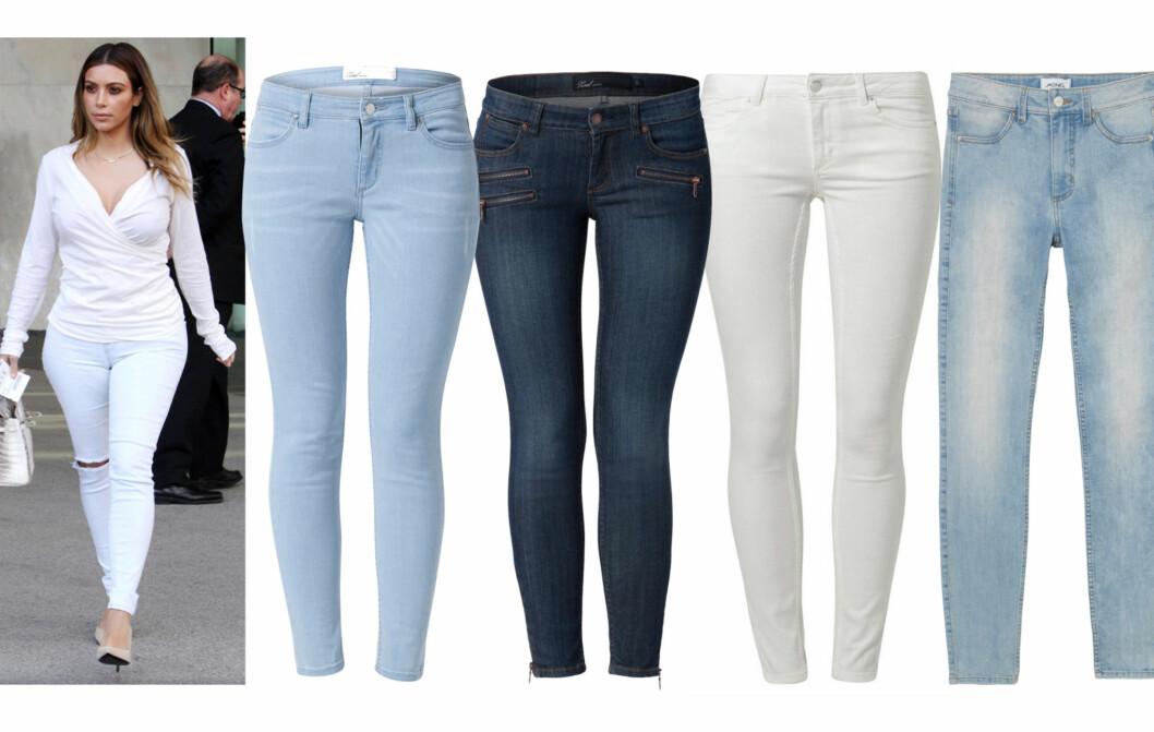 <strong>FLOTT MODELL FOR DEG MED LITT FASONG:</strong> Kim  Kardashian går for ankellange jeans til pumps og matchende topp. Lyse (kr 500) og med glidelåser og flere lommer (kr 600, begge fra MQ), offwhite (kr 550, Kiomi/zalando.no) og lyse (kr 400, Monki). Foto: All Over Press/Produsenter