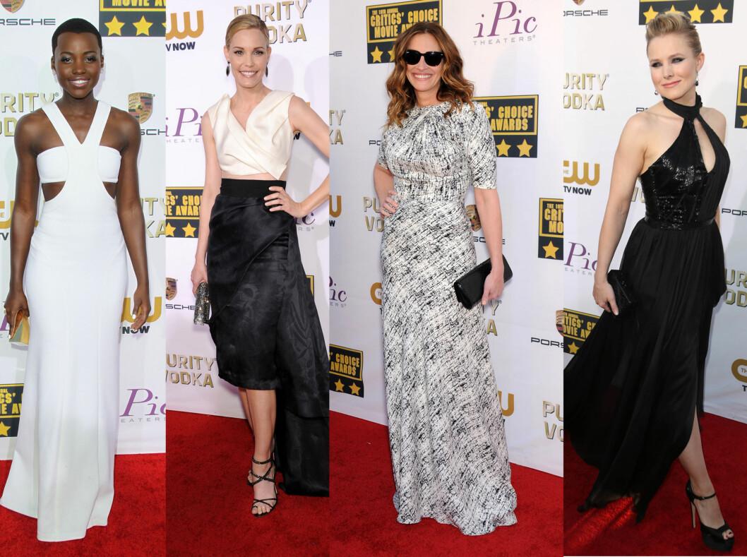 SORT OG HVITT: Fra venstre ser vi Lupita N'yongo i en hvit kjole med cut outs, Leslie Bibb i en todelt kreasjon, Julia Roberts i en mønstret variant og Kristen Bell i en halterneck-kjole med splitt. Foto: All Over Press