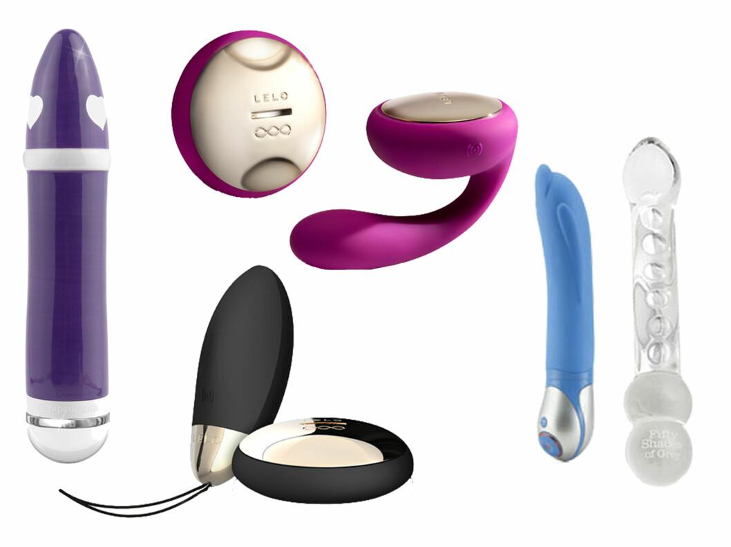 KJØPETIPS FRA VENSTRE: Lilla vibrator (kr 499, Kondomeriet), rosa parvibrator (kr 1899, Kondomeriet), sort fjernstyrt vibrerende egg (kr 1399, Kondomeriet), blå vibrator (kr 498, Nytelse.no), Glassdildo (kr 299, Nytelse.no).