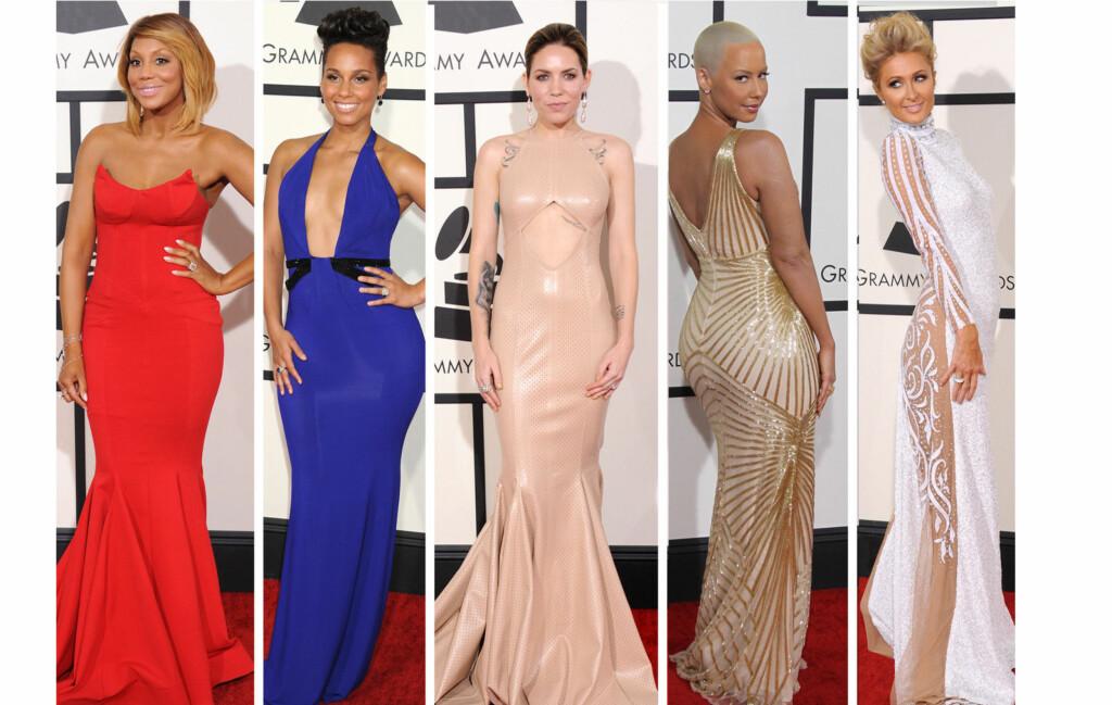 VISTE FORMENE: Flere av de store stjernene valgte tettsittende kjoler under søndagens Grammy-utdeling. Fra venstre - Tamara Braxton, Alicia Keys, Skylar Grey, Amber Rose og Paris Hilton.  Foto: All Over Press