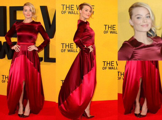 MARGOT ROBBIE: Den australske skjønnheten hadde valgt en rød silkekjole med lange ermer og splitt. Foto: All Over Press