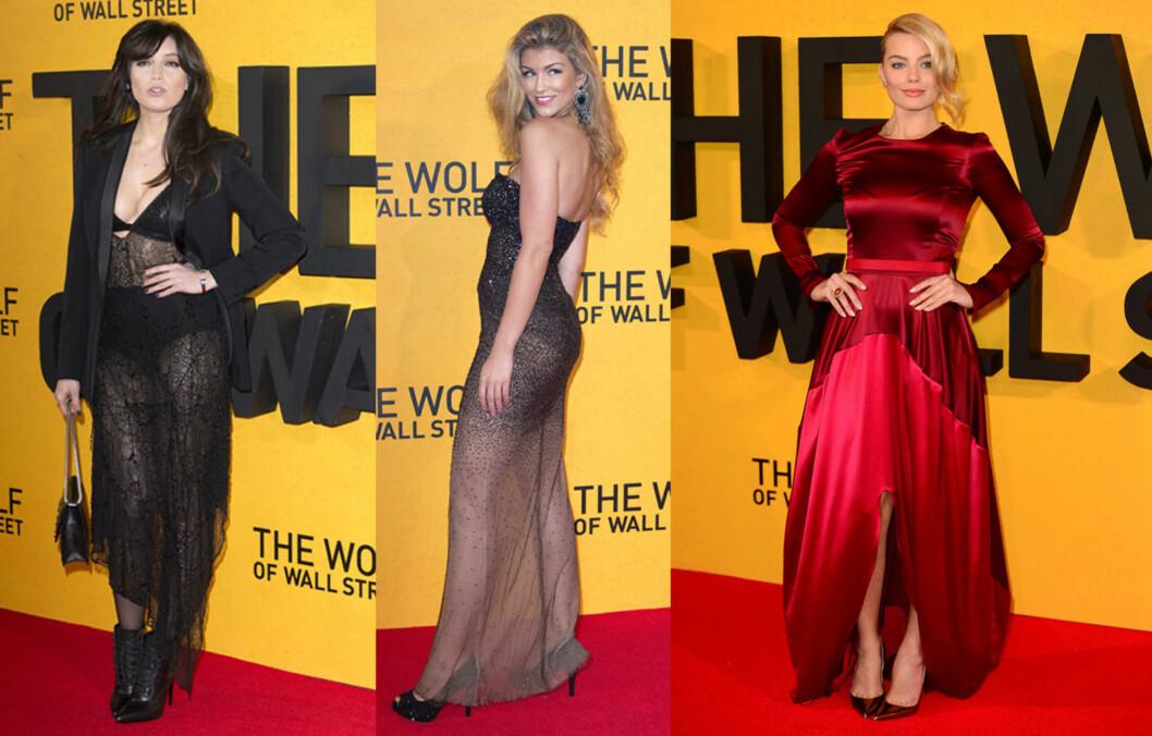 THE WOLF OF WALL STREET: I går hadde storfilmen premiere, og Daisy Lowe og Amy Willerton hadde begge valgt gjennomsiktige kjoler. Vakre Margot Robbie valgte et mye mindre avslørende antrekk, men stjal likevel showet. Foto: All Over Press